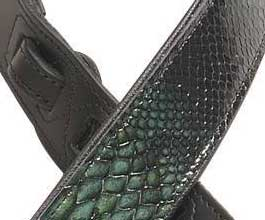 Levys GREEN Snake Leather Guitar Strap_cu