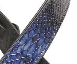 Levys NAVY Snake Leather Guitar Strap_cu