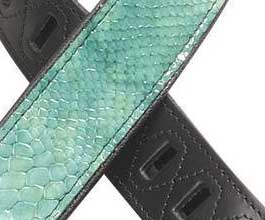 Levys TEAL Snake Leather Guitar Strap_cu