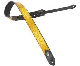 Levys YELLOW Snake Leather Guitar Strap