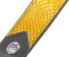 Levys YELLOW Snake Leather Guitar Strap_cu