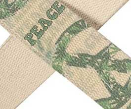 Hemp Guitar Strap - close up (peace)