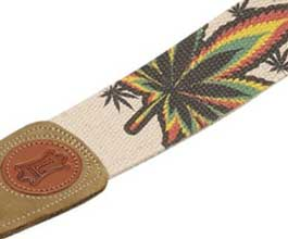 Hemp Guitar Strap - close up (Leaf)
