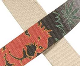 Hemp Guitar Strap - close up (lion)