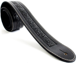 LEATHER GUITAR STRAP BLACK WITH GLITTER DESIGN UK MADE