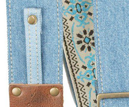 Denim Guitar Strap 4 by LM Products close up