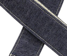 Denim Guitar Strap 5 by Pete Schmidt close up
