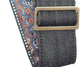 Denim Guitar Strap 8 by LM Products close up