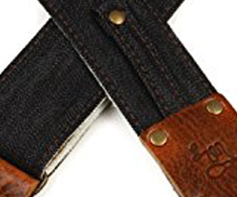 Denim Guitar Strap 11 by LM Products close up